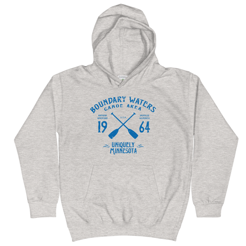 Boundary Waters Canoe Area Minnesota kids and youth hoodie in heather grey cotton blend with blue BWCAW MN crossed-paddles logo.