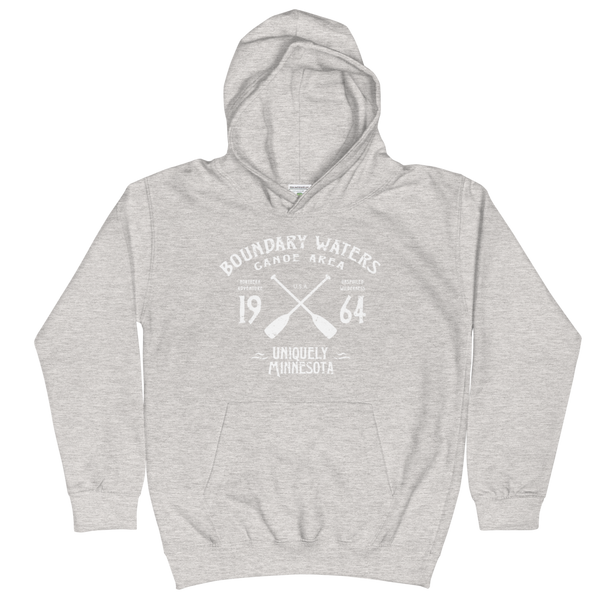 Boundary Waters Canoe Area Minnesota kids and youth hoodie in heather grey cotton blend with white BWCAW MN crossed-paddles logo.