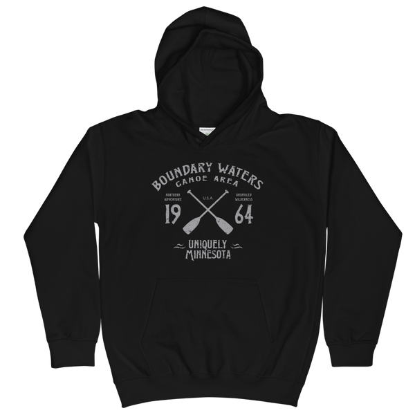 Boundary Waters Canoe Area Minnesota kids and youth hoodie in jet black cotton blend with grey BWCAW MN crossed-paddles logo.