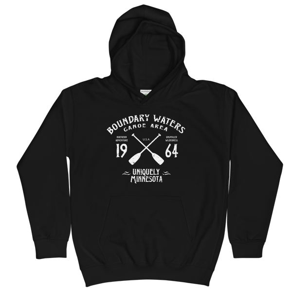 Boundary Waters Canoe Area Minnesota kids and youth hoodie in jet black cotton blend with white BWCAW MN crossed-paddles logo.