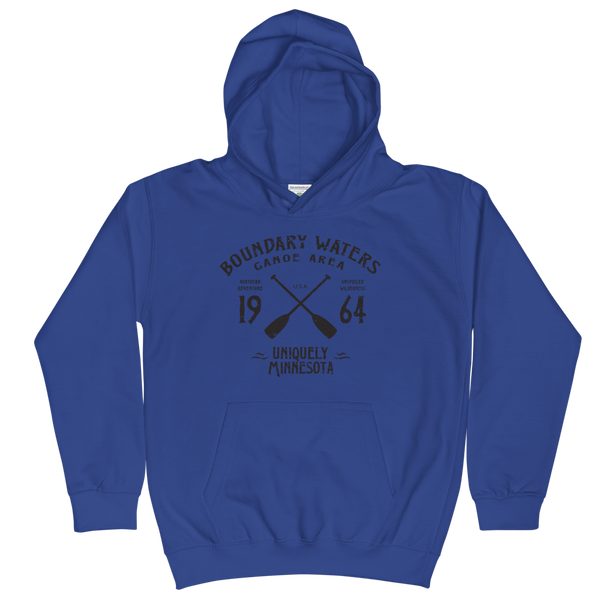 Boundary Waters Canoe Area Minnesota kids and youth hoodie in royal blue cotton blend with black BWCAW MN crossed-paddles logo.