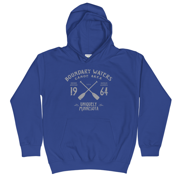 Boundary Waters Canoe Area Minnesota kids and youth hoodie in royal blue cotton blend with grey BWCAW MN crossed-paddles logo.