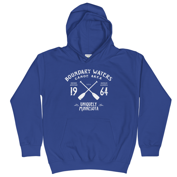 Boundary Waters Canoe Area Minnesota kids and youth hoodie in royal blue cotton blend with white BWCAW MN crossed-paddles logo.