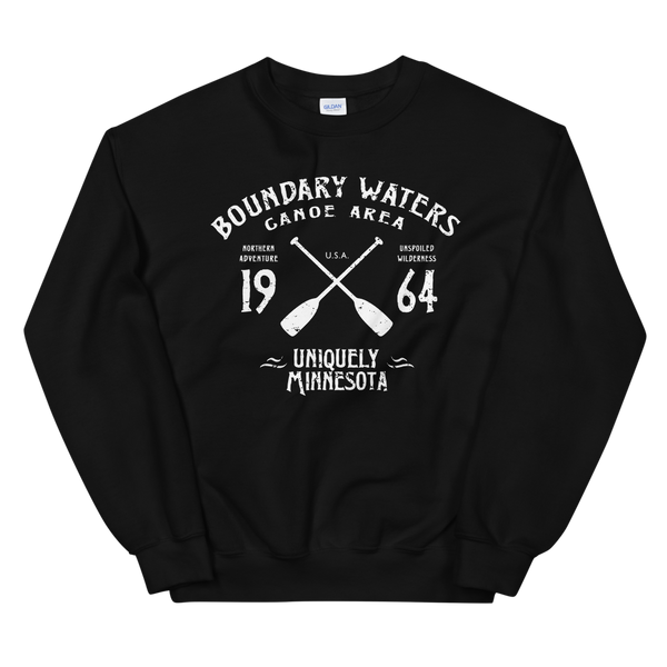 Men's Boundary Waters (BWCAW) MN sweatshirt.  Vintage, sport-inspired MN logo sweatshirt in black with white logo.