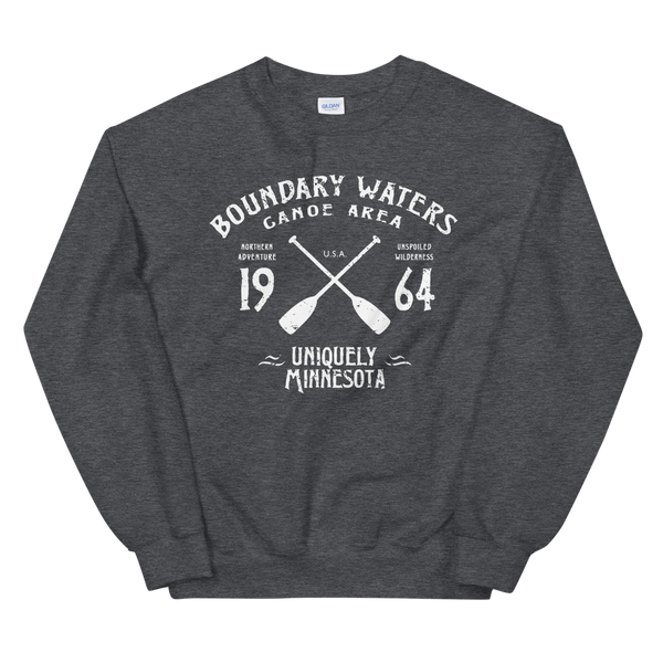 Men's Boundary Waters (BWCAW) MN sweatshirt.  Vintage, sport-inspired MN logo sweatshirt in dark heather with white logo.