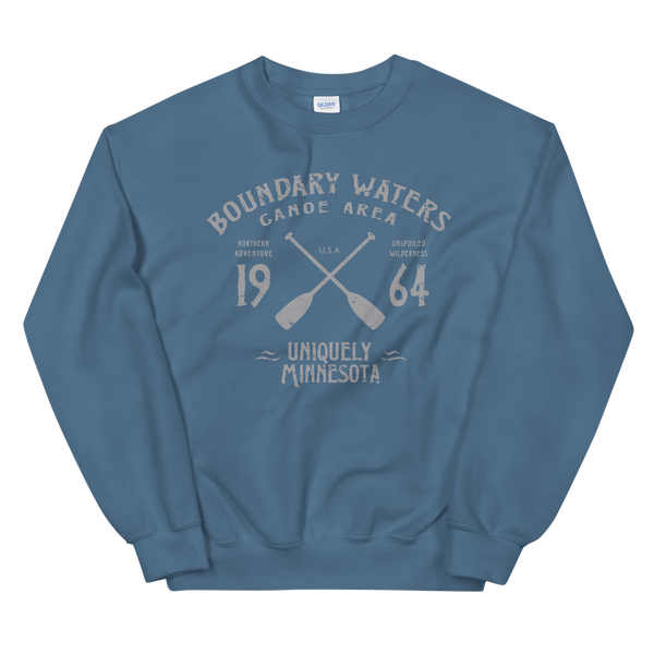 Men's Boundary Waters (BWCAW) MN sweatshirt.  Vintage, sport-inspired MN logo sweatshirt in indigo blue with grey logo.