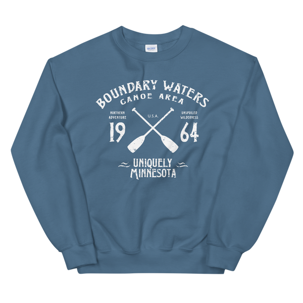 Men's Boundary Waters (BWCAW) MN sweatshirt.  Vintage, sport-inspired MN logo sweatshirt in indigo blue with white logo.