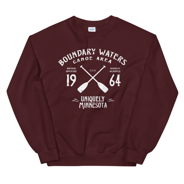 Men's Boundary Waters (BWCAW) MN sweatshirt.  Vintage, sport-inspired MN logo sweatshirt in maroon with white logo.
