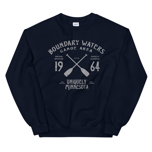 Men's Boundary Waters (BWCAW) MN sweatshirt.  Vintage, sport-inspired MN logo sweatshirt in navy with grey logo.