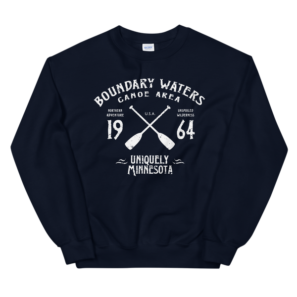 Men's Boundary Waters (BWCAW) MN sweatshirt.  Vintage, sport-inspired MN logo sweatshirt in navy with white logo.