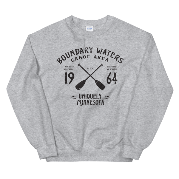 Men's Boundary Waters (BWCAW) MN sweatshirt.  Vintage, sport-inspired MN logo sweatshirt in sport grey with black logo.