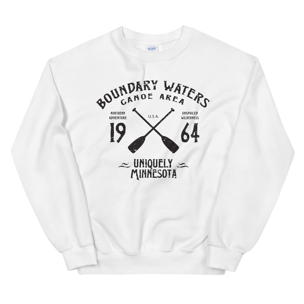 Men's Boundary Waters (BWCAW) MN sweatshirt.  Vintage, sport-inspired MN logo sweatshirt in white with black logo.
