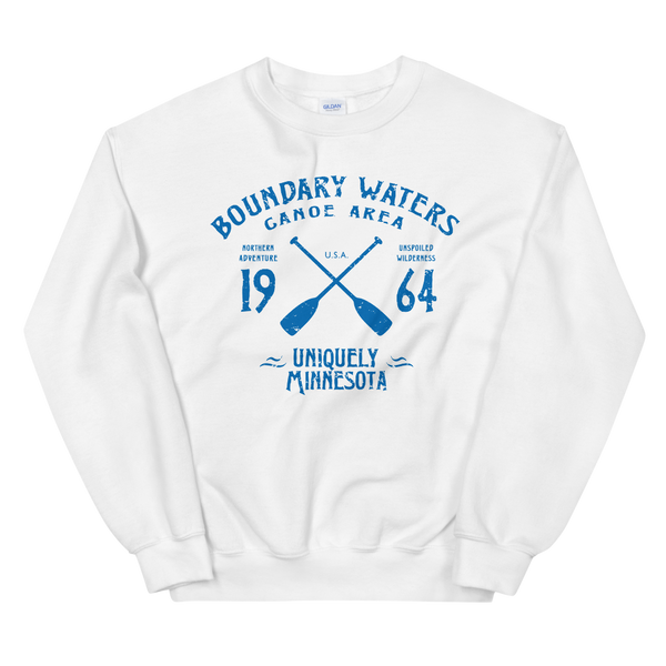 Men's Boundary Waters (BWCAW) MN sweatshirt.  Vintage, sport-inspired MN logo sweatshirt in white with blue logo.