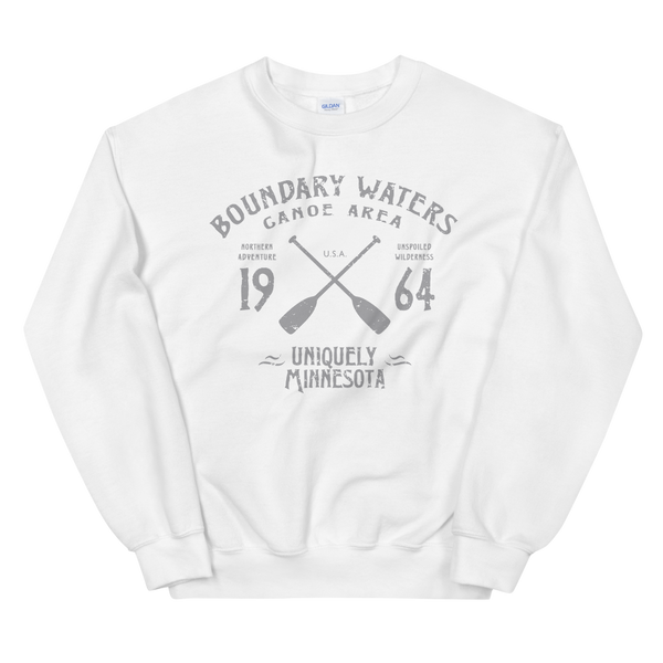 Men's Boundary Waters (BWCAW) MN sweatshirt.  Vintage, sport-inspired MN logo sweatshirt in white with grey logo.
