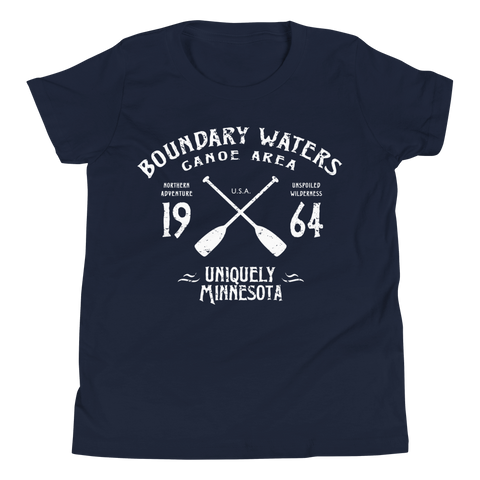 Youth Minnesota Boundary Waters Canoe Area (BWCA) cotton vintage crossed-paddles t-shirt in navy with white logo.