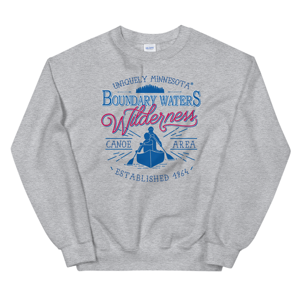 Men's Boundary Waters (BWCAW) sweatshirt. MN classic men's sweatshirt in sport grey.