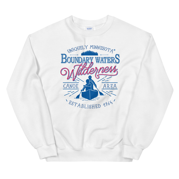 Men's Boundary Waters (BWCAW) sweatshirt. MN classic men's sweatshirt in white.