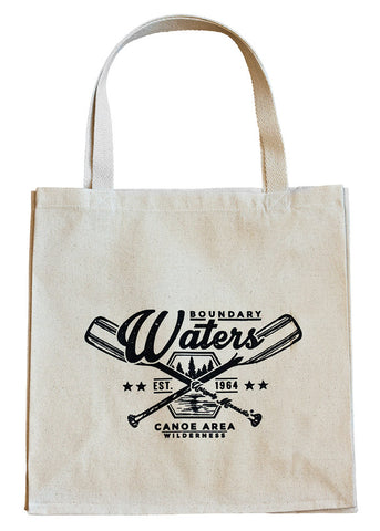 Boundary Waters MN crossed-paddles badge logo on 100% organic cotton canvas tote recognizes the importance of the BWCA waterways.