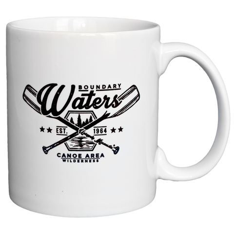 Boundary Waters MN BWCAW series cross-paddles 11 oz ceramic mug