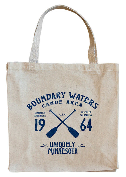 The Shop at Uniquely Minnesota BWCAW sporty and vintage-inspired logo on 100% organic cotton canvas tote, a popular MN gift idea.