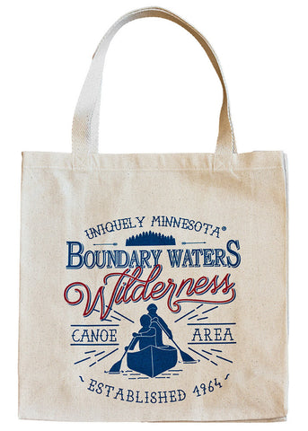 Boundary Waters (BWCAW) MN classic style logo on 100% cotton canvas tote celebrates the region's world-renowned canoeing and untouched wilderness.