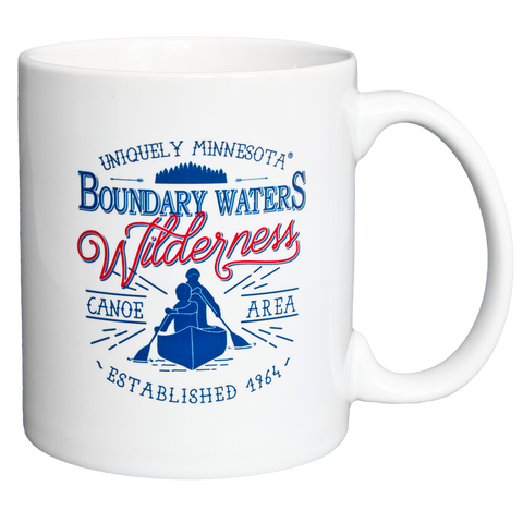 Boundary Waters MN BWCAW Series Classic Style Mug 11 oz white ceramic