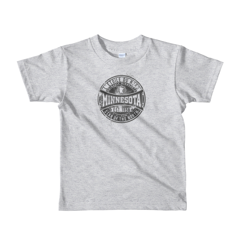 "Kids L'etoile du Nord ""Star of the North"" Distressed Emblem Minnesota state motto cotton tshirt on heather grey with black logo."