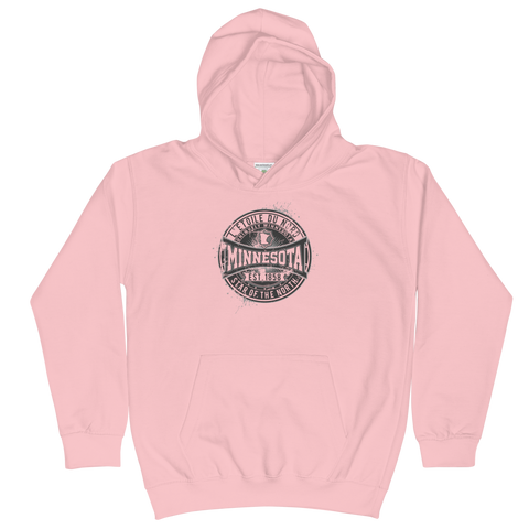 Kids and Youth L'etoile du Nord series distressed emblem hoodie in baby pink cotton blend with black logo.