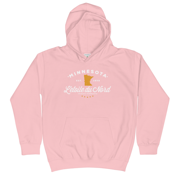 Kids and Youth L'etoile du Nord MN state motto hoodie in baby pink cotton blend with white logo.