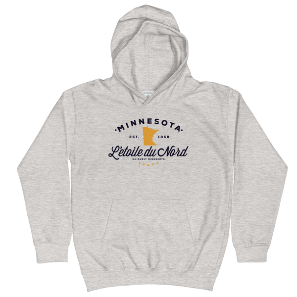 Kids and Youth L'etoile du Nord MN state motto hoodie in heather grey cotton blend with black logo.