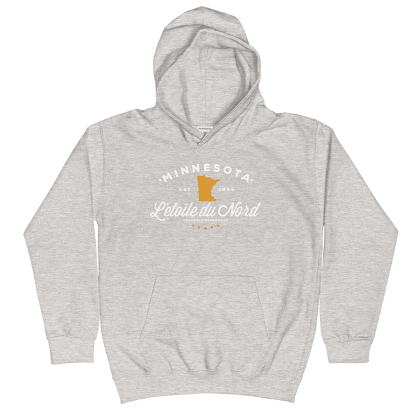 Kids and Youth L'etoile du Nord MN state motto hoodie in heather grey cotton blend with white logo.