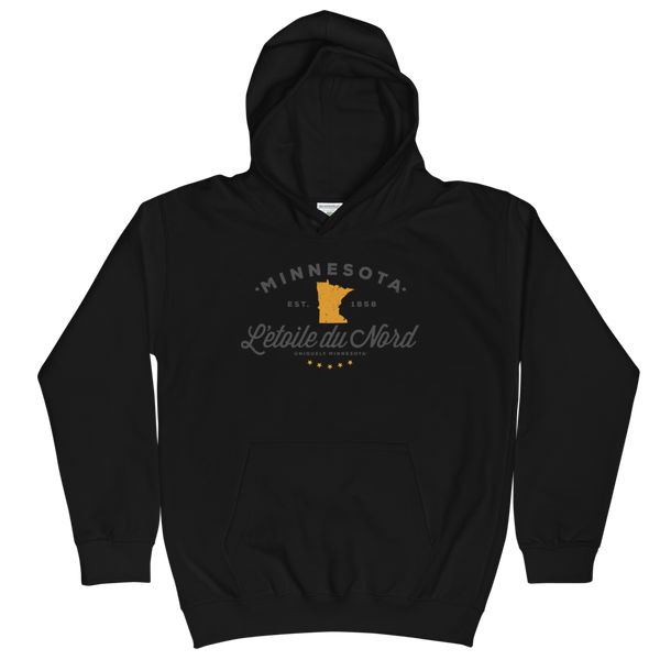 Kids and Youth L'etoile du Nord MN state motto hoodie in jet black cotton blend with grey logo.