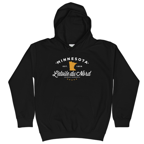 Kids and Youth L'etoile du Nord MN state motto hoodie in jet black cotton blend with white logo.