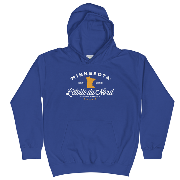 Kids and Youth L'etoile du Nord MN state motto hoodie in royal blue cotton blend with white logo.