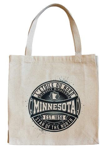 The Shop at Uniquely Minnesota L'etoile du Nord or North Star state motto sport-inspired emblem on 100% cotton reinforced bottom canvas tote.