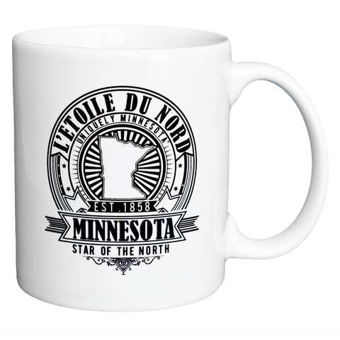 "Minnesota state motto L'etoile du Nord, or ""North Star,"" seal logo 11 oz. Ceramic Mug."