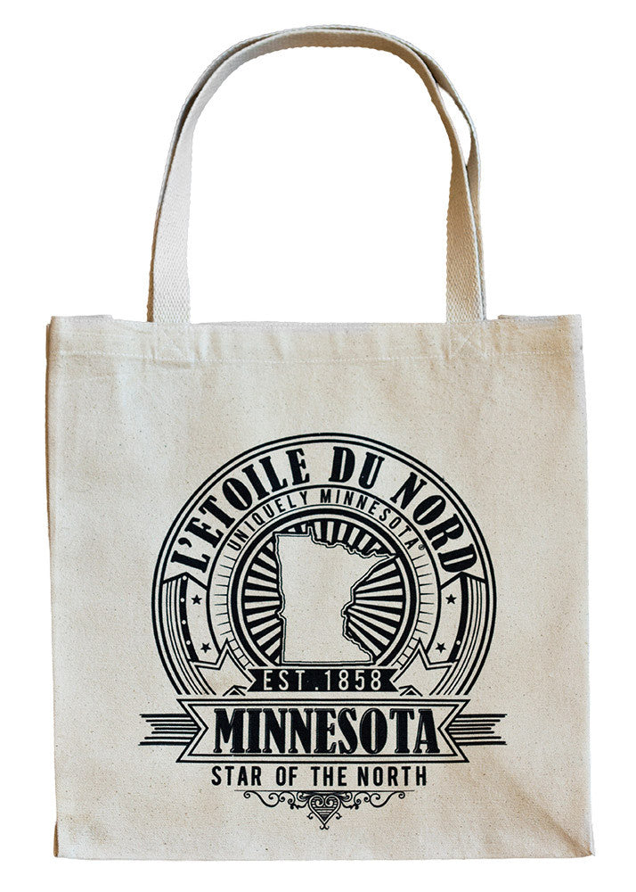 "Uniquely Minnesota state motto L'etoile du Nord, ""Star of the North"", seal logo on 100% cotton canvas tote."