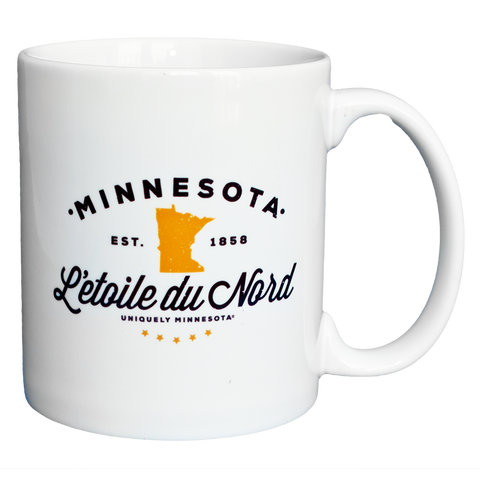"L'etoile du Nord, or ""Star of the North"" state motto logo white 11 oz. ceramic coffee mug."