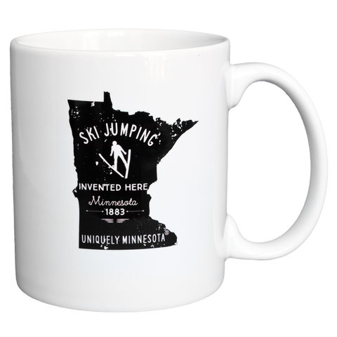 Ski Jumping Invented in MN Reverse Logo on 11 oz. white ceramic coffee mug by Uniquely Minnesota