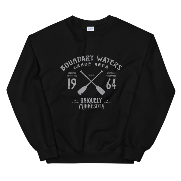 Women 's Boundary Waters Canoe Area (BWCAW) MN sweatshirt in black with grey logo.