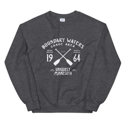 Women 's Boundary Waters Canoe Area (BWCAW) MN sweatshirt in dark heather with white logo.