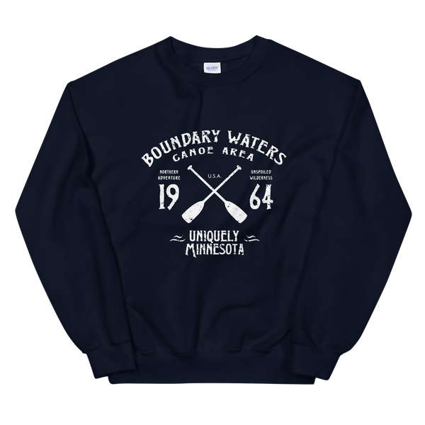 Women 's Boundary Waters Canoe Area (BWCAW) MN sweatshirt in navy with white logo.