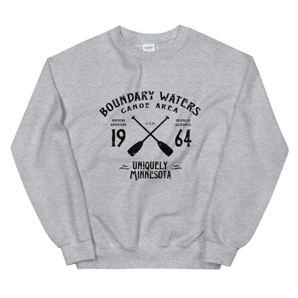 Women 's Boundary Waters Canoe Area (BWCAW) MN sweatshirt in sport grey with black logo.