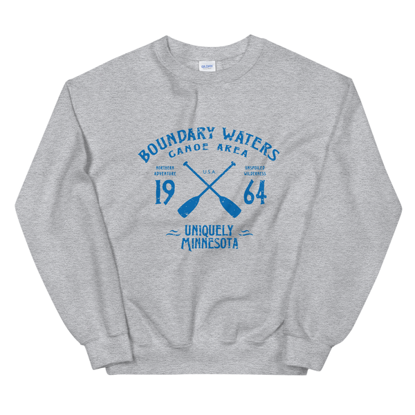 Women 's Boundary Waters Canoe Area (BWCAW) MN sweatshirt in sport grey with blue logo.