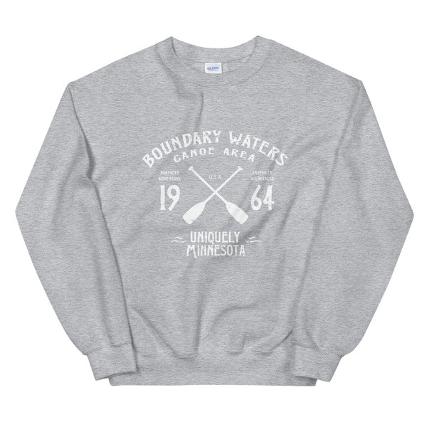 Women 's Boundary Waters Canoe Area (BWCAW) MN sweatshirt in sport grey with white logo.