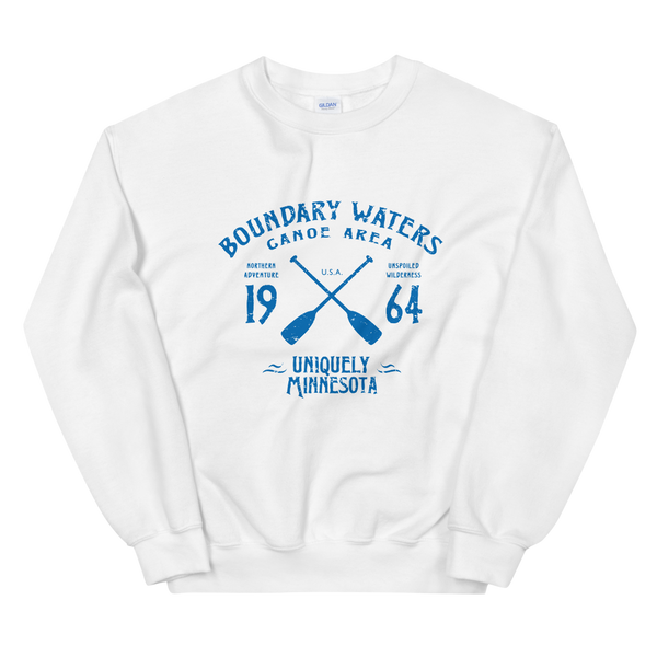 Women 's Boundary Waters Canoe Area (BWCAW) MN sweatshirt in white with blue logo.
