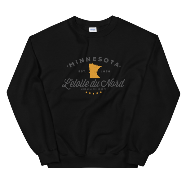 "Women's Minnesota L'etoile du Nord ""Star of the North"" state motto logo sweatshirt on black with grey logo."