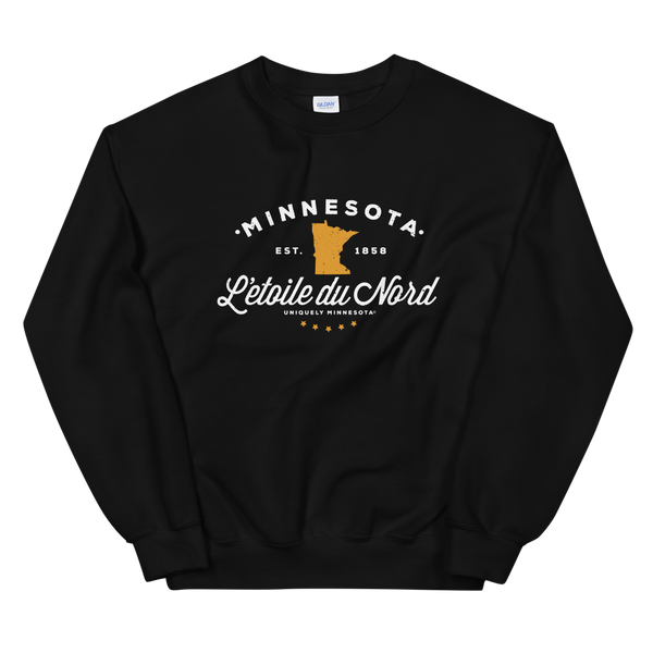 "Women's Minnesota L'etoile du Nord ""Star of the North"" state motto logo sweatshirt on black with white logo."
