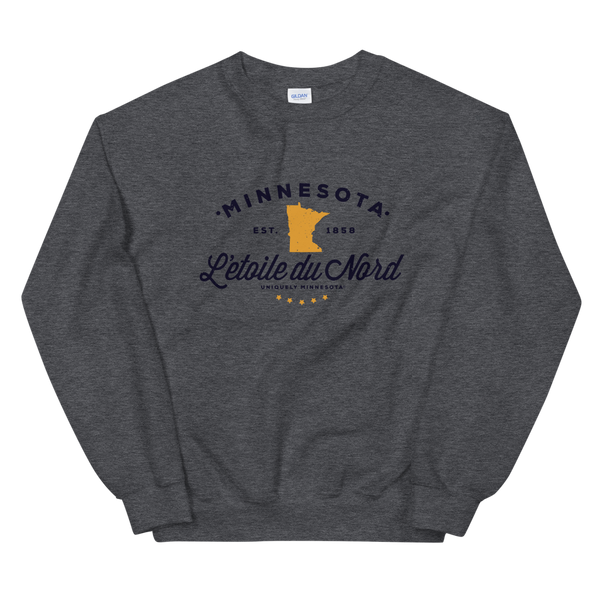 "Women's Minnesota L'etoile du Nord ""Star of the North"" state motto logo sweatshirt on dark heather with black logo."