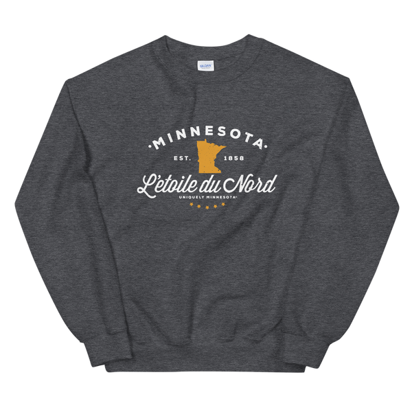 "Women's Minnesota L'etoile du Nord ""Star of the North"" state motto logo sweatshirt on dark heather with white logo."